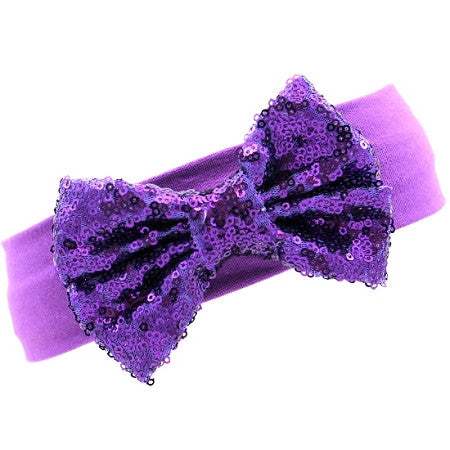 Purple Sequin Bow Headband