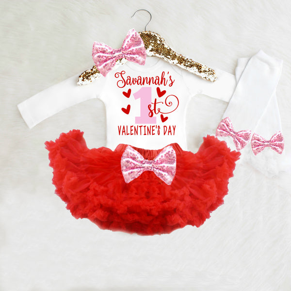 1st Valentine's Day Outfit Baby Girl