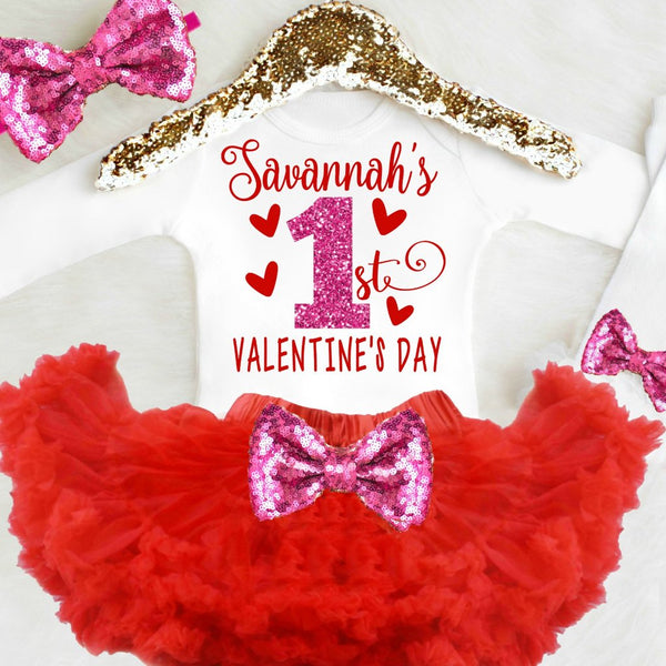 1st Valentine's Day Outfit Pink and Red