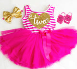 2nd Birthday Dress Pink and Gold 2nd Birthday Tutu Dress