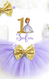 Sofia the First Birthday Outfit Purple and Gold Tutu