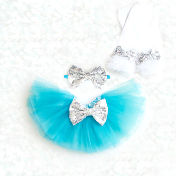 Turquoise and Silver Tutu Set