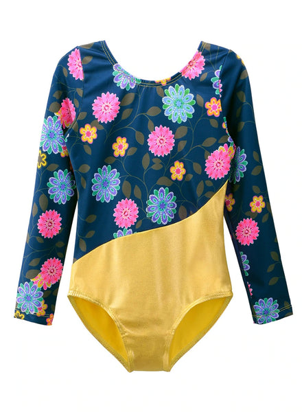 Toddler Gymnastics Leotard Floral and Gold