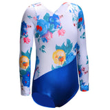Toddler Gymnastics Leotard Floral Blue