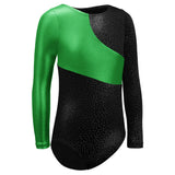 Toddler Gymnastics Leotard Long Sleeve Black and Green