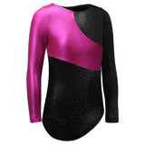 Toddler Gymnastics Leotard Long Sleeve Black and Pink