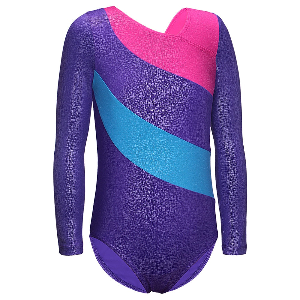 Toddler Gymnastics Leotard Long Sleeve Purple and Pink