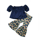 Velvet Top & Sunflower Pants Set