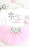 Winter Onederland Birthday Outfit Pink and Silver Personalized