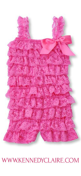 Bubble Gum Pink Lace Romper