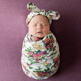 WHITE FLORAL SWADDLE SET  (MINIMUM QUANTITY 3)
