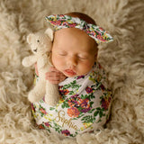 Baby Swaddle Set - White Floral