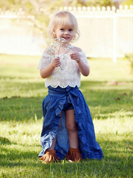 Lace Top & Denim Skirt Set