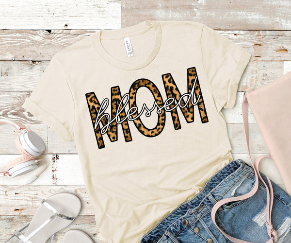 Blessed Mom Leopard Tee