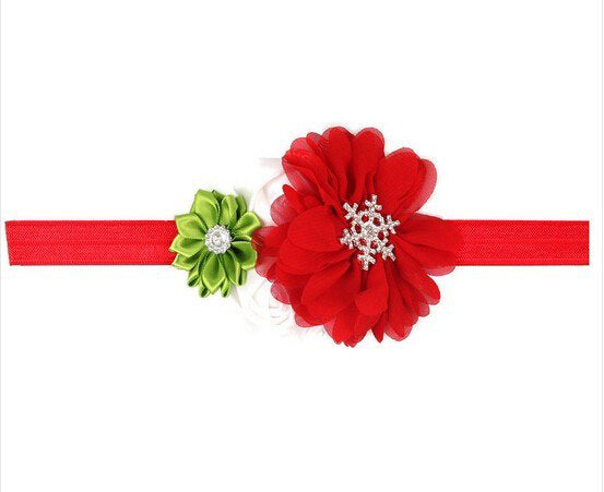 Snowflake Red and Green Christmas Headband