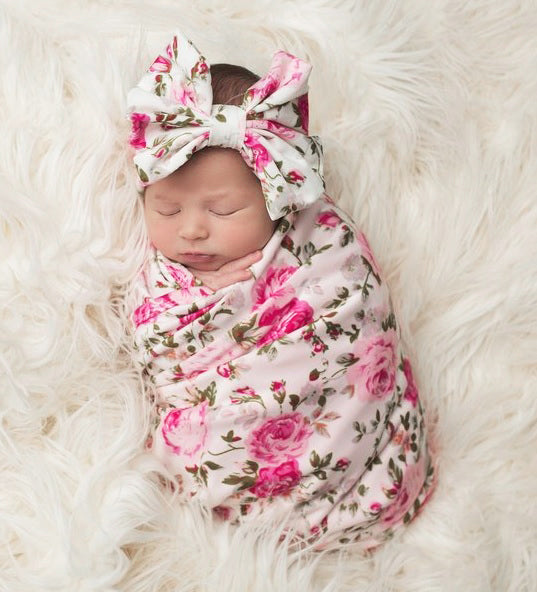 FLORAL SWADDLE BLANKET & HEADBAND SET