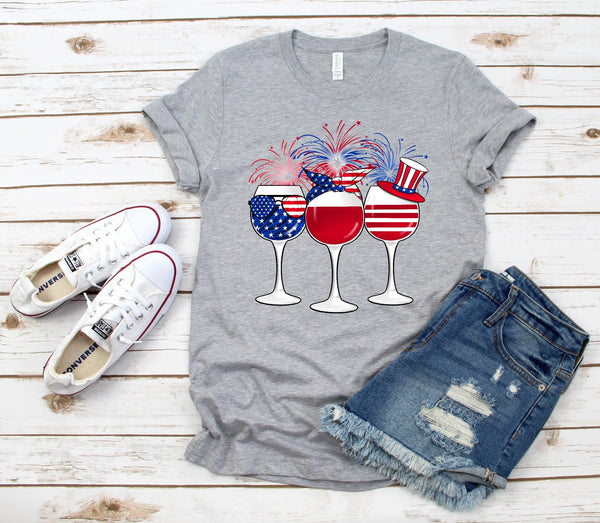 4th of July Wine Glasses Tee
