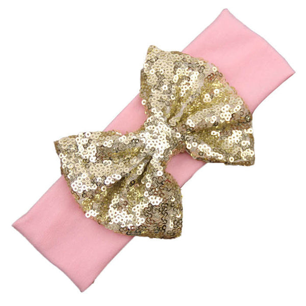 PINK & GOLD SEQUIN BOW HEADBAND