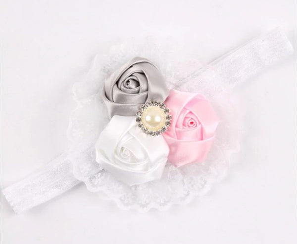 Pink and Silver Lace Headband