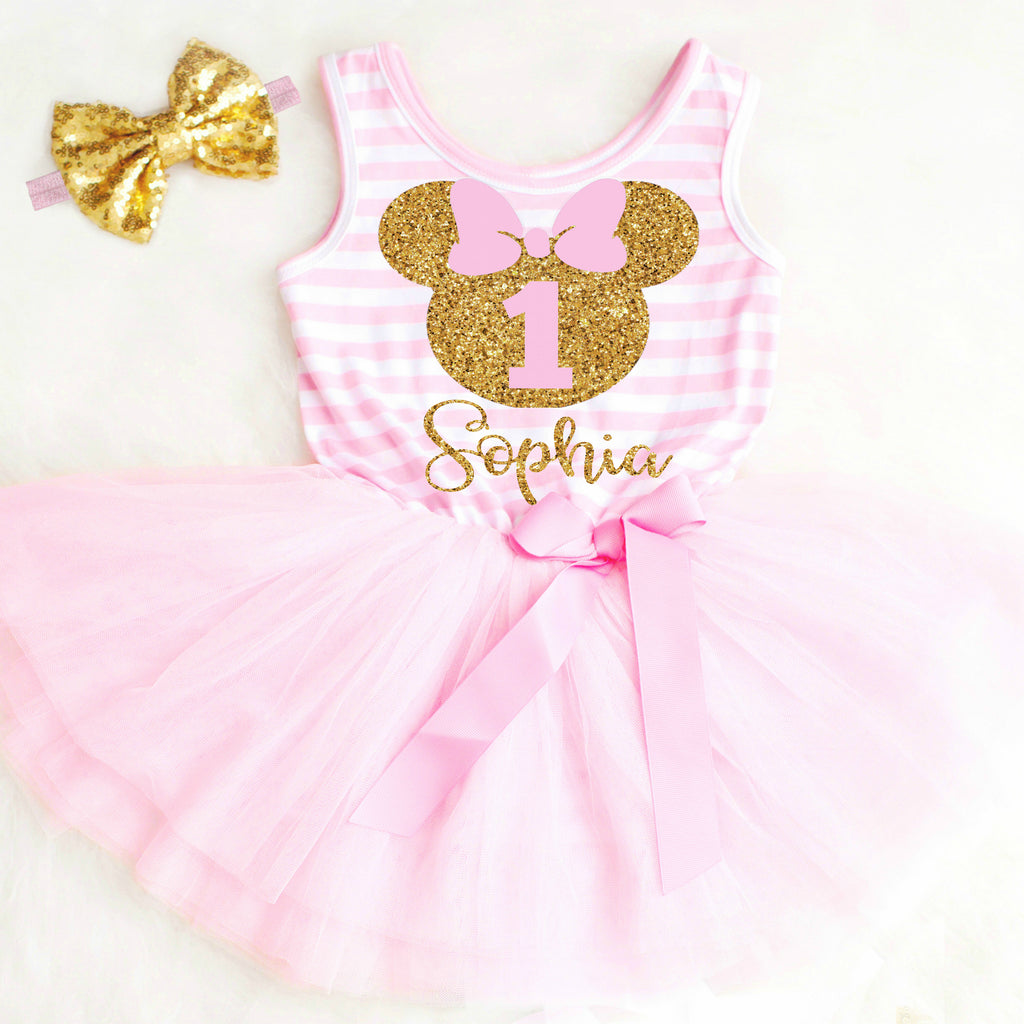 Pink And Gold Minnie Mouse First Birthday Dress