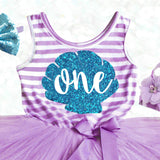 Mermaid 1st Birthday Dress Purple Teal
