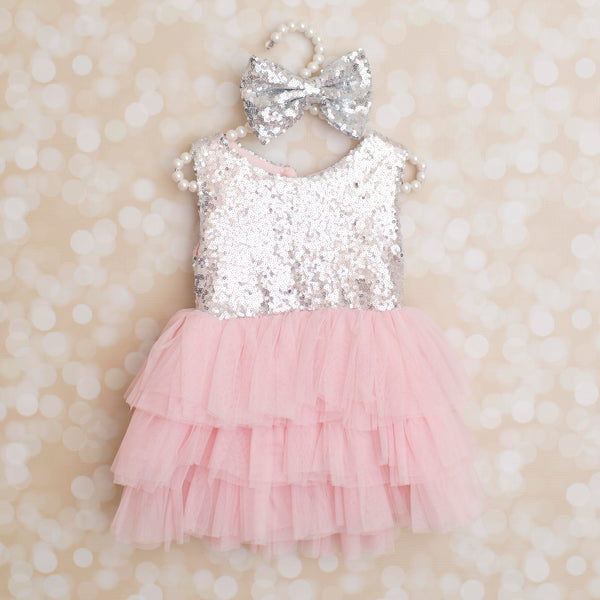 SILVER AND PINK SEQUIN DRESS