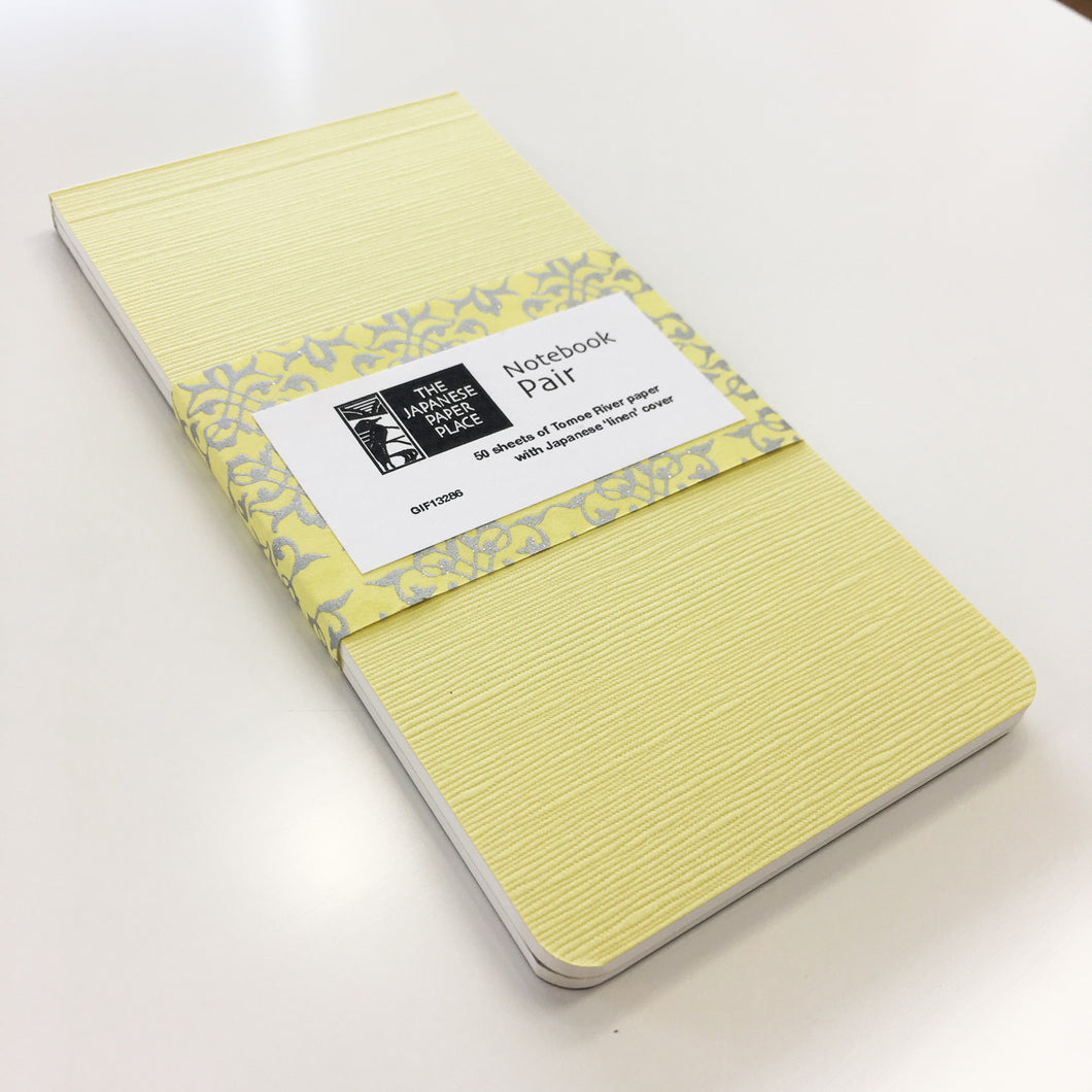 Japanese Linen - Notebook Pair (Yellow)