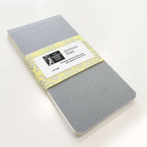Japanese Linen - Notebook Pair (Grey)