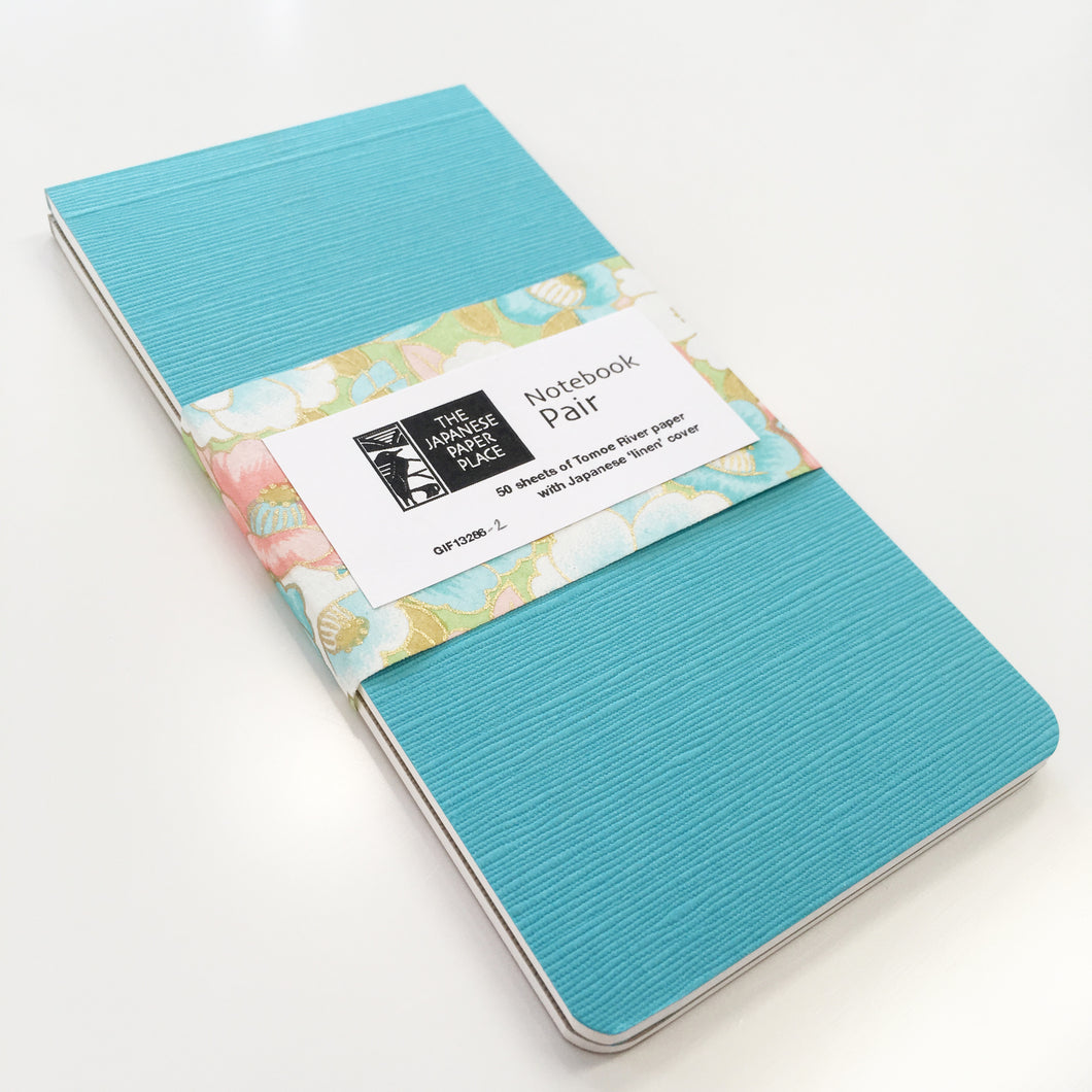 Japanese Linen - Notebook Pair (Light Blue)