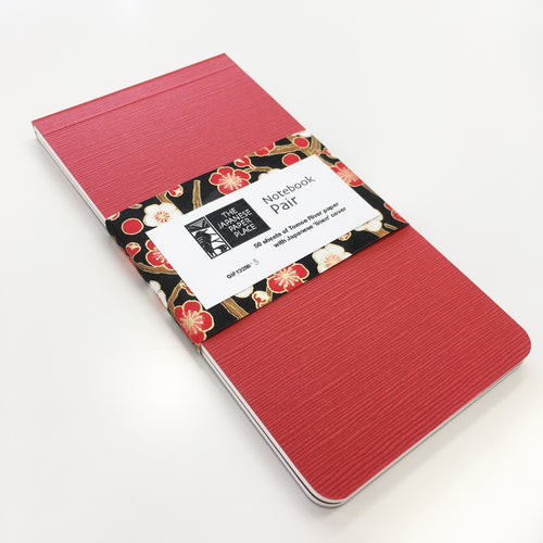 Japanese Linen - Notebook Pair (Red)