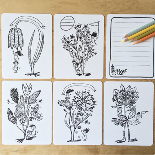 Colouring Card Set, Fun with Flowers