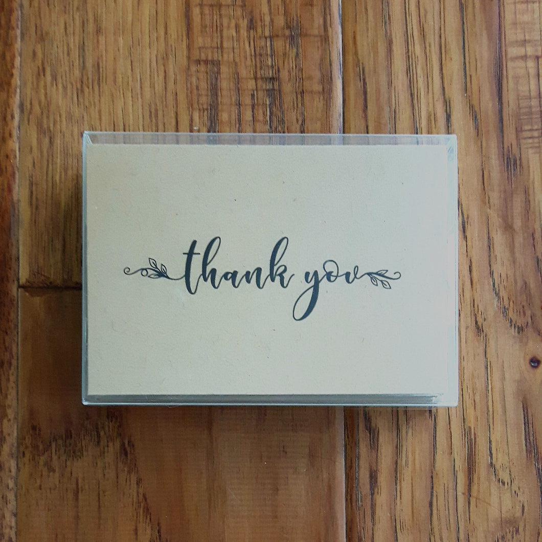 Set of 12 - Thank You Cards - Kraft
