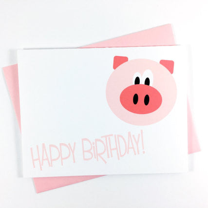 Pig - Happy Birthday Card