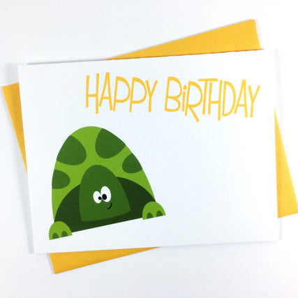 Green Turtle - Happy Birthday Card