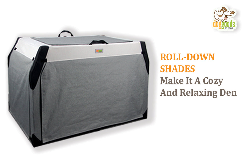 Soft sided crate with roll down shades