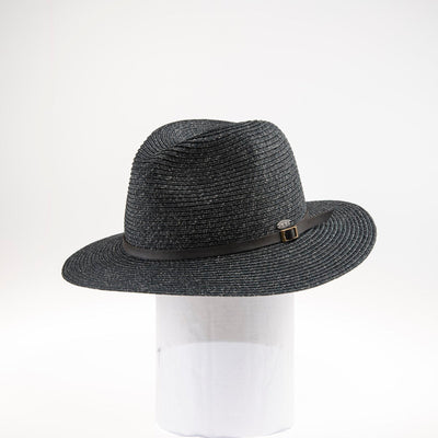 RED DEAR FEDORA IN PAPER STRAW GOLF  2600 CHARCOAL O/S
