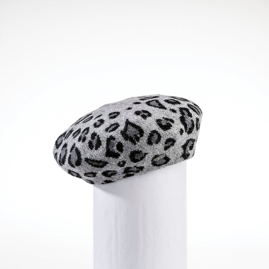 BELINDA - LEOPARD KNIT BERET HAT GOLF  2100 BLACK O/S