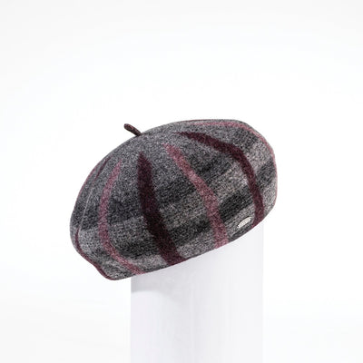 BRIANNA - PLAID BERET HAT GOLF  2600 CHARCOAL-BURGUNDY ADJUSTABLE