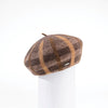 BRIANNA - PLAID BERET HAT GOLF  6900 COFFEE-CAMEL ADJUSTABLE
