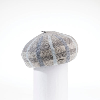 BRIANNA - PLAID BERET HAT GOLF  7900 GREY-BLUE ADJUSTABLE