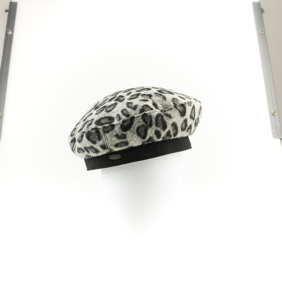 BETTINA - LEOPARD BERET HAT GOLF  2400 CAMEL ONE SIZE