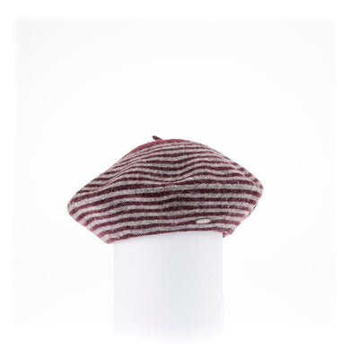 BLAIRE - STRIPED BERET HAT GOLF  3800 BURGUNDY ONE SIZE