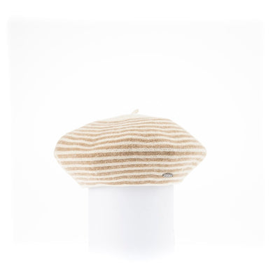 BLAIRE - STRIPED BERET HAT GOLF  4900 CREAM ONE SIZE