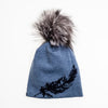 BERDINE - MERINO BEANIE WITH FEATHER PRINT AND POM GOLF  2200 BLUE O/S
