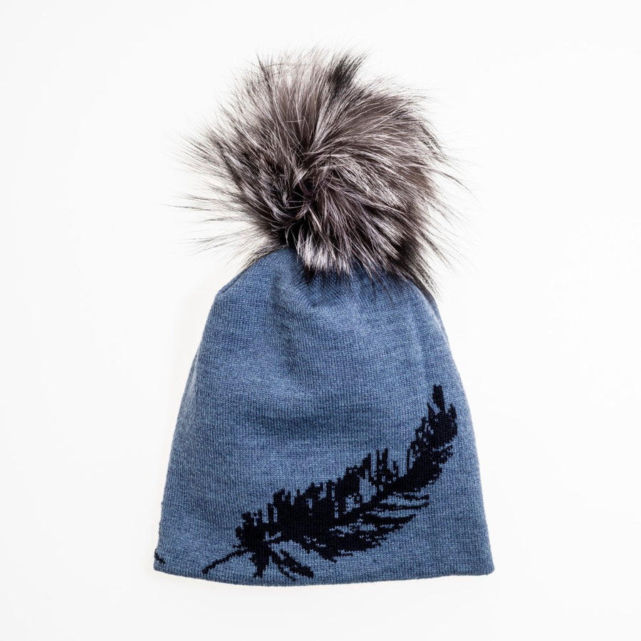 BERDINE - MERINO BEANIE WITH FEATHER PRINT AND POM