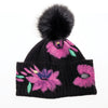 BAILEY BEANIE WITH EMBROIDERY AND UPCYCLED FUR POM GOLF  2100 BLACK-PINK O/S