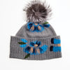 BAILEY BEANIE WITH EMBROIDERY AND UPCYCLED FUR POM GOLF  7900 GREY-BLUE O/S