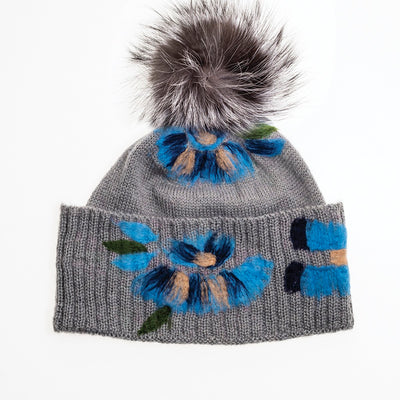 BAILEY - BEANIE WITH COLORFUL EMBROIDERY AND POM GOLF  7900 GREY-BLUE O/S