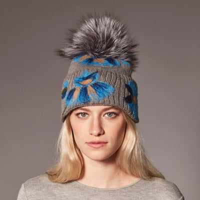 BAILEY BEANIE WITH EMBROIDERY AND UPCYCLED FUR POM