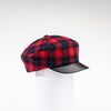 NANCY - TARTAN NEWSBOY CAP WITH LEATHER CAP GOLF  5800 RED TARTAN ADJUSTABLE
